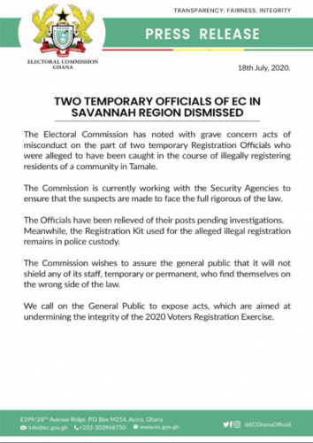 Electoral commission press release on Savannah region